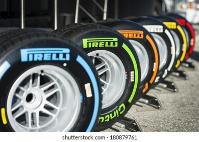 JEREZ, SPAIN - JANUARY 31: Pirelli Tyres on display in the paddock on the first Test at the Jerez Circuit in Jerez, Andalucia, Spain on Jan. 31, 2014.