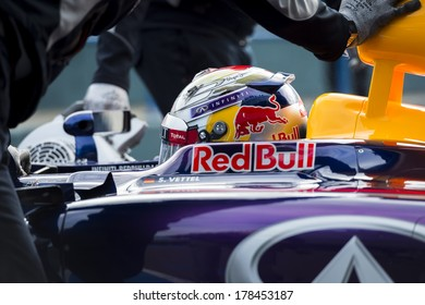 JEREZ, SPAIN - JANUARY 31: Sebastian Vettel testing his new Red Bull RB10 F1 car on the first Test at the Jerez Circuit in Jerez, Andalucia, Spain on Jan. 31, 2014.