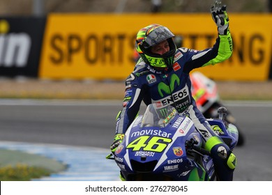 JEREZ - SPAIN, MAY 3: Italian Yamaha rider Valentino Rossi finishes third at 2015 Bwin MotoGP of Spain at Jerez circuit on May 3, 2015