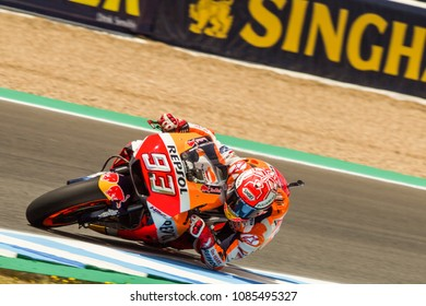 JEREZ - SPAIN, MAY 4: Spanish Honda rider Marc Marquez wins at 2018 Red Bull MotoGP of Spain at Jerez circuit on May 4, 2018