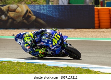 JEREZ - SPAIN, MAY 5: Italian Yamaha rider Valentino Rossi at 2018 Red Bull MotoGP of Spain at Jerez circuit on May 5, 2018