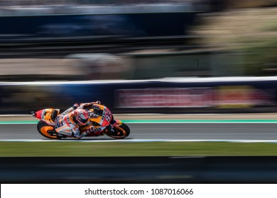 JEREZ - SPAIN, MAY 5: Spanish Honda rider Marc Marquez wins at 2018 Red Bull MotoGP of Spain at Jerez circuit on May 5, 2018
