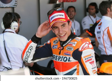 JEREZ - SPAIN, MAY 5: Spanish Honda rider Marc Marquez wins the 2014 Bwin MotoGP of Spain at Jerez circuit on May 5, 2014