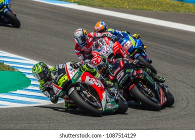 JEREZ - SPAIN, MAY 6: British Honda rider Cal Crutchlow at 2018 Red Bull MotoGP of Spain at Jerez circuit on May 6, 2018