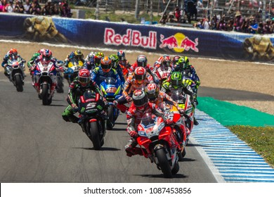 JEREZ - SPAIN, MAY 6: First corner at MotoGP race at 2018 Red Bull MotoGP of Spain at Jerez circuit on May 6, 2018