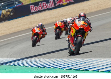 JEREZ - SPAIN, MAY 6: KTM rider Mika Kallio from Finland at 2018 Red Bull MotoGP of Spain at Jerez circuit on May 6, 2018