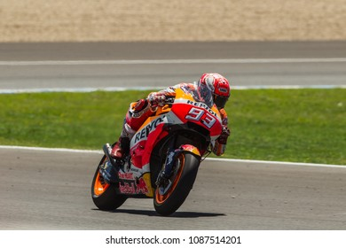 JEREZ - SPAIN, MAY 6: Spanish Honda rider Marc Marquez wins at 2018 Red Bull MotoGP of Spain at Jerez circuit on May 6, 2018