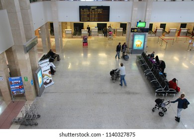 JEREZ, SPAIN - NOVEMBER 5, 2012: Passengers hurry at Jerez Airport in Spain. The airport in Andalusia region served 758,309 passengers in 2014.