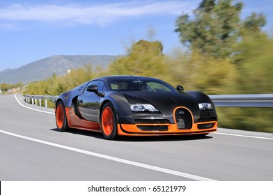 JEREZ, SPAIN - SEPTEMBER 19: The Bugatti Veyron Super Sport the World's Fastest Production Car on show and driven on September 19, 2010, on the mountain roads around Jerez, Spain, organized by Bugatti.