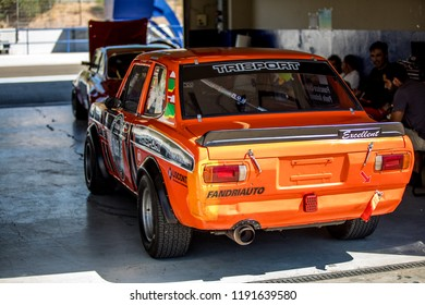 JEREZ, SPAIN-SEPTEMBER 22, 2018: Iberian Historic Endurance. Datsun Sunny 1400 GX Excellent racing at Circuito de Jerez, Ángel Nieto in Spain.