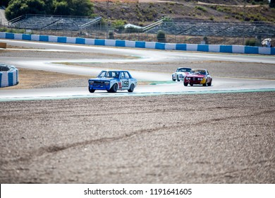 JEREZ, SPAIN-SEPTEMBER 22, 2018: Iberian Historic Endurance. Datsun 510/1600 SSS in chicane at Circuito de Jerez, Ángel Nieto in Spain.
