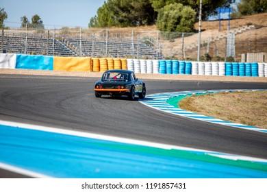 JEREZ, SPAIN-SEPTEMBER 22, 2018: Iberian Historic Endurance. Lotus Elan 26R racing at Circuito de Jerez, Ángel Nieto in Spain.