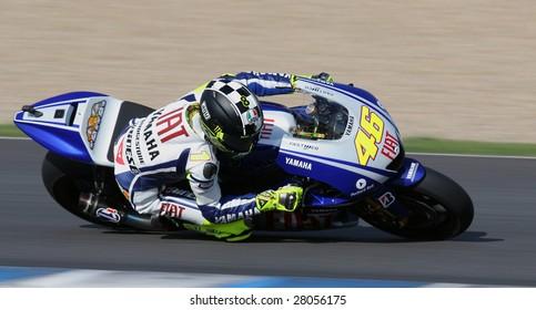 JEREZ SPEEDWAY , SPAIN- MAR 29: Current MotoGP World Champion Valentino Rossi of Fiat Yamaha Team at MotoGP Official Test March 29, 2009 in Jerez Speedway. Rossi was 2nd fastest