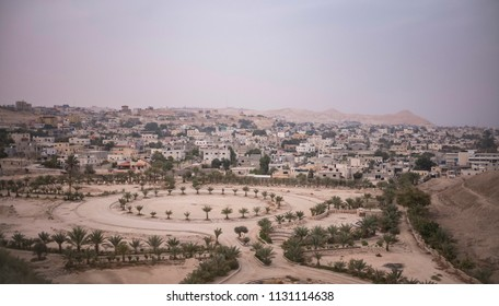 Jericho, Israel - December 21 2017: The sunset skyline of historic city Jericho, which could be the oldest city of the World.