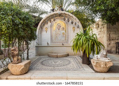 Jericho, Israel, January 25, 2020 : Altar on the territory of the monastery of Gerasim Jordanian - Deir Hijleh - in the Judean desert near the city of Jericho in Israel