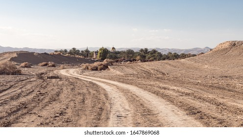 Jericho, Israel, January 25, 2020 : View from the Judean Desert to the monastery of Gerasim Jordanian - Deir Hijleh - in the Judean desert near the city of Jericho in Israel