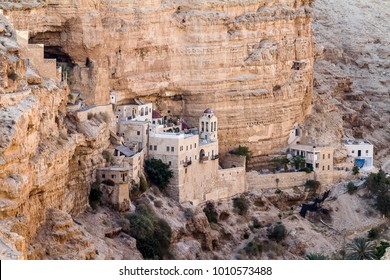 Jericho, Israel - SEPTEMBER 14 2014: St. Geroge Monastery, near Jericho and the Dead Sea in the Judean desert