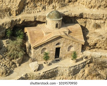 Jericho, Israel -  small church in the St. George Monastery, near Jericho and the Dead Sea in the Judean desert