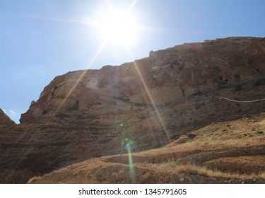 Jericho, Palestine - 4/13/2015: The Monastery Of The Temptation where Jesus resisted the temptations of Satan after fasting for 40 days in the desert In Jericho, Palest