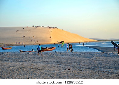 Jericoacoara, Brazil, 10/09/2011: gathering on giant sand dune for sunset in Jericoacoara Brazil