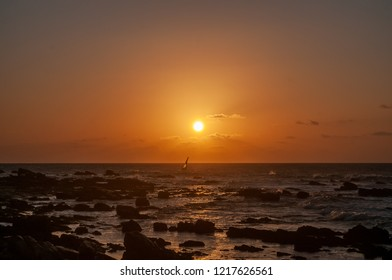 Jericoacoara, Ceará, Brazil. October 2018. Sunset on the beach of Jericoacoara.
