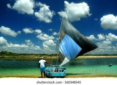 JERICOACOARA, BRAZIL - Sailing boat in Lagoa do Paraiso in Jericoacoara in Brazil