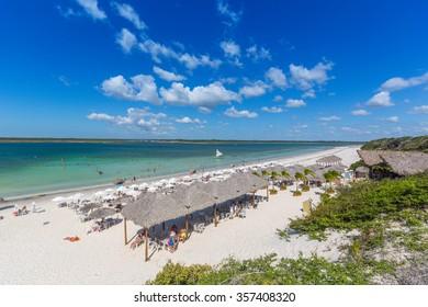 JERICOACOARA, CE/BRAZIL - CIRCA JULY 2015: Tourists enjoy white sandy beaches all year round at the Paradise Lagoon on circa July 2015 in Jericoacoara.