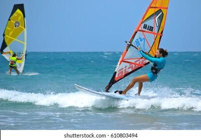 JERICOACOARA.CEARA/BRASIL - CIRCA JANUARY 2017: windsurfer sportmen Aurora riding on the wave having fun of the windsurfing