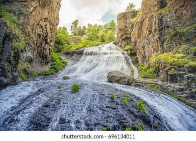 Jermuk waterfall on Arpa river in Armenia