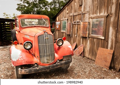 Jerome Arizona Ghost Town mine and red old truck car on AUGUST 26, 2013 in Jerome, USA
