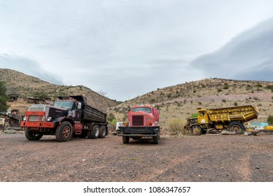 Jerome, AZ, USA - April 16, 2018: Old trucks at Gold King Mine & Ghost Town. It is funky stop with dilapidated buildings, an old mine & a large collection of old autos & trucks.