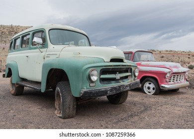 Jerome, AZ, USA - April 16, 2018: old vehicles in Gold King Mine & Ghost Town. The town is a funky stop with dilapidated buildings, an old mine & a large collection of old autos & trucks.