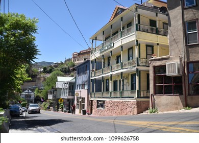 Jerome, AZ. U.S.A. May 18, 2018. A National Historical Landmark 1967, Jerome's Cleopatra hill tunnel/open pit copper mining boom 1890s to bust 1950s. Jerome offers by-ways, B&Bs, hotels, saloons