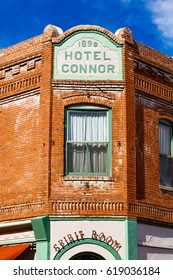 Jerome, AZ USA - October 16, 2016: The historic Hotel Connor is a popular tourist destination in this trendy small mountain town overlooking the Verde Valley.