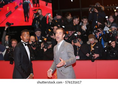 Jerome Boateng and Kai Pflaume pose on the red carpet during opening ceremony of the 67th Berlinale International Film Festival at Grand Hyatt Hotel in Berlin, Germany on February 9, 2017.