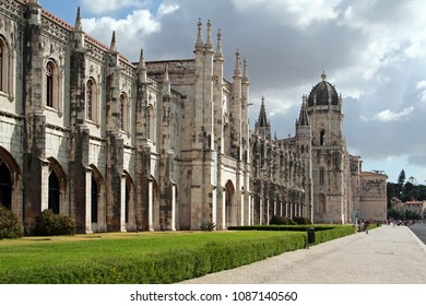 Jeronimos Monastery or Abbey in Lisbon, Portugal, aka Santa Maria de Belem monastery. Classified as UNESCO World Heritage it stands as a masterpiece of the Manueline art.