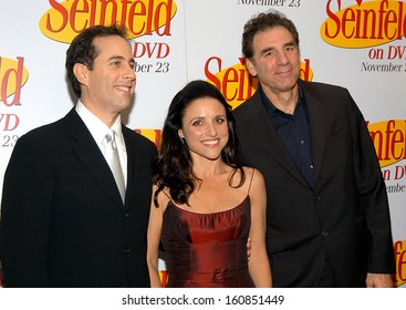 Jerry Seinfeld, Julia Louis-Dreyfus, and Michael Richards at the celebration for the release of the SEINFELD DVD at the Rainbow Room, New York, November 17, 2004