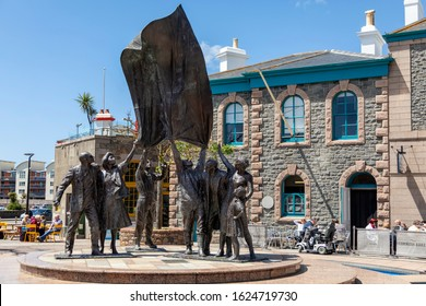 JERSEY, CHANNEL ISLANDS - 06082019:  The Liberation monument (sculptor Philip Jackson) in Liberation Square, St Helier.