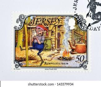 JERSEY - CIRCA 2005: A stamp printed in Jersey shows Rumpelstiltskin, circa 2005