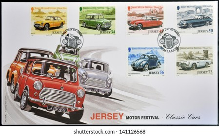 JERSEY - CIRCA 2005: Stamps printed in Jersey dedicated to classic cars, circa 2005