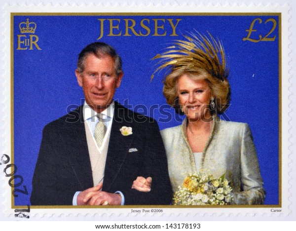 JERSEY - CIRCA 2006: A stamp printed in Jersey commemorating wedding the Prince of Wales and Camilla Parker Bowles, circa 2006.