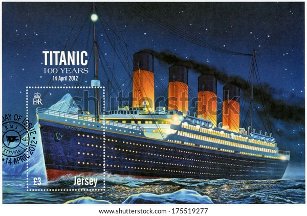 JERSEY - CIRCA 2012: A stamp printed in Jersey shows Titanic - 100 years, circa 2012