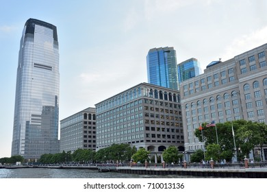 JERSEY CITY - AUG 23: Goldman Sachs Tower, is the tallest building in New Jersey. August 23, 2017 in Jersey City, New Jersey