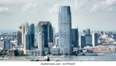 Jersey City. Beautiful aerial view in summer season.