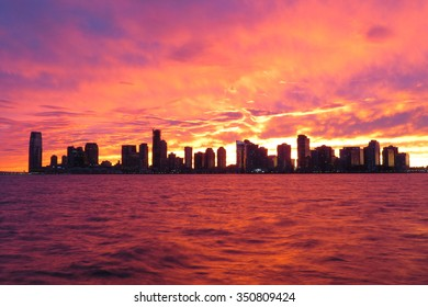 Jersey City full skyline during a fabulous sunset