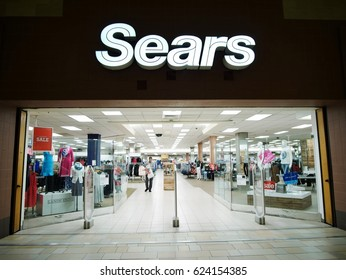 Jersey City - March 30 2017. Sears store front inside a mall.