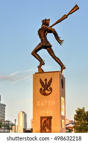 Jersey City, New Jersey - August 22, 2012: Katyn Massacre Memorial in Jersey City at Hudson River front - USA
