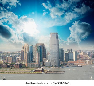 Jersey City, New Jersey. Beautiful skyline view from helicopter at sunset.