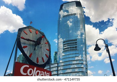JERSEY CITY, NEW JERSEY, USA, AUGUST 2016: the Colgate Clock and Goldman Sachs building