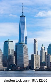 JERSEY CITY, NJ - MARCH 6: A view of the Freedom Tower and World Trade Center from Liberty State Park on March 6, 2016.